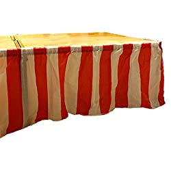 oocc Carnival Themed Party Decoration Red & White Striped Plastic Pleated Table Skirt Carnival Circus decorations,14 Feet x 29 Feet (4 Pack)