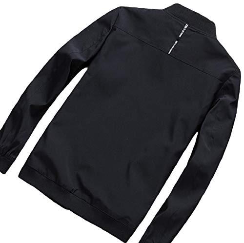 Nero Collare Splice Cappotto Energymen Outwear Zip Stare Casuale Più Tasca gIzIZ