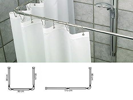 Takestop supporto tenda doccia in acciaio grigio bagno cm