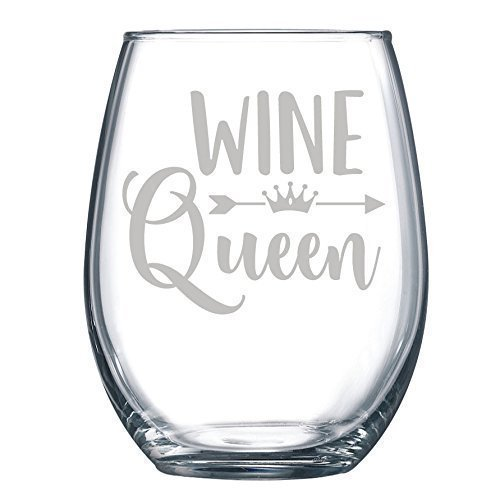 Wine Queen - Engraved Glass Funny Gift Laser Etched Glass - 15 oz