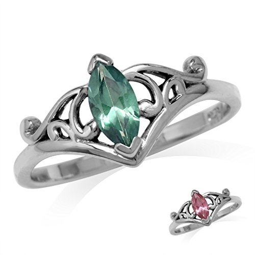 Marquise Shape Simulated Color Change Alexandrite 925 Sterling Silver Filigree Ring Size (Alexandrite Filigree)