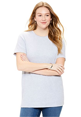 Women's Plus Size Top, In Soft Thermal Knit With Satin Trim Heather Grey,1X