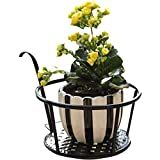 L;IAN Hanging Flower Iron Rack, Plant Stand Balcony Living Room Round Flower Pot Rack Railing Fence Outdoor Black Garden Tools