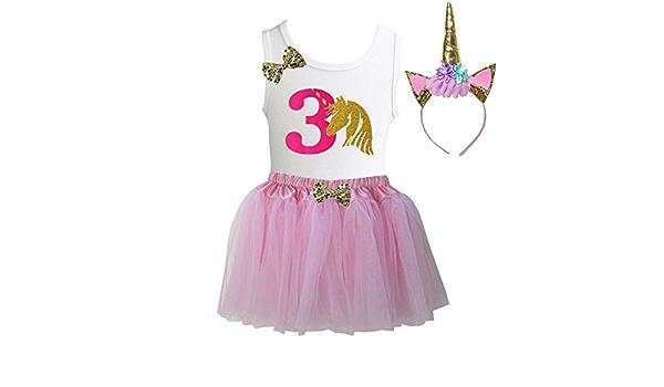 Kirei Sui Girls Soft Tulle Tutu /& 1st 6th Birthday Tee /& Headband 3pcs Outfit