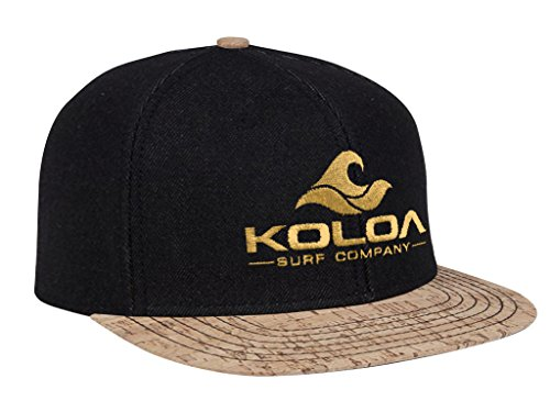 Koloa Surf-Classic Wave Logo Snapback Hats Cork Bill with Golden Logo