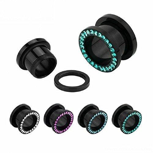 8 mm - AQ - Aquamarine - Acryl - Tunnel - Kristall (Piercing Tunnel Ohr Flesh Plug für gedehnte Ohren Lobes Tubes)