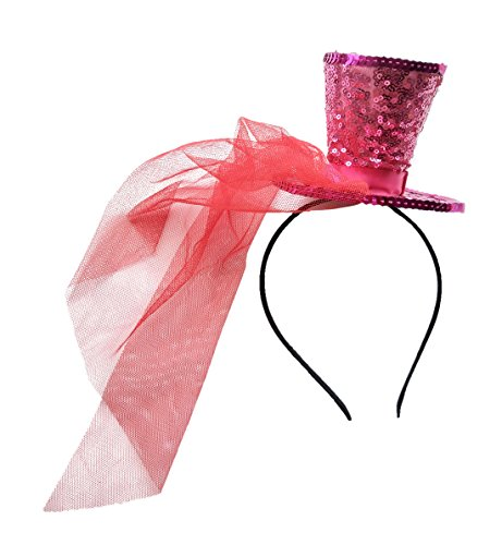 Mini Top Hat Fascinator Hair Clip Headband Pillbox Glittery Veil tea party B Rose Red Fuschia