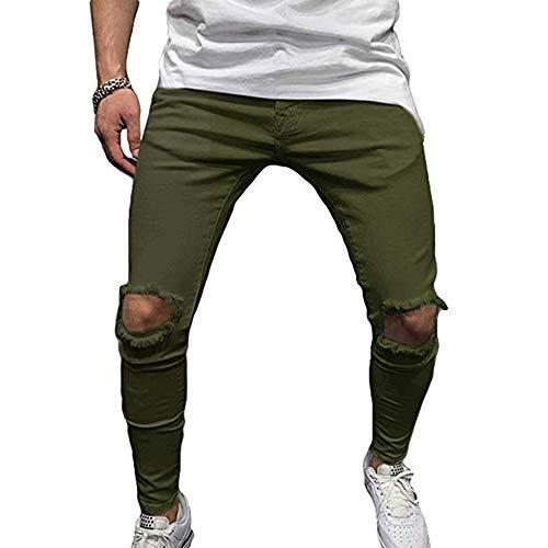 Skinny Solido Outdoor Uomo Di Slim Strappati Colore Casual Da Green Stretch Fit Pantaloni Moda Army WXH7P4aq