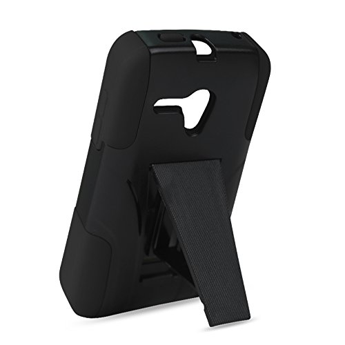 Reiko Silicon Case+Protector Kickstand Case Carrying Case for Alcatel Onetouch Pop Star 2 LTE A521L/Pop Nova LTE A520L - Retail Packaging - Black