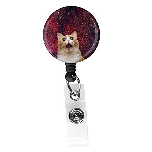 Cute cat on Galaxy Background Retractable ID Card Badge Holder with Alligator Clip, Name Nurse Decorative Badge Reel Clip on Card Holders