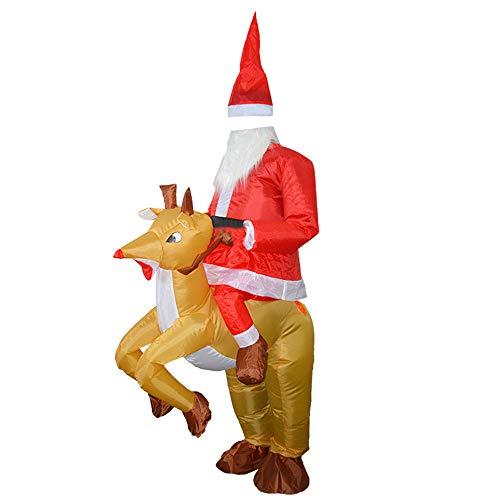 Hattfart Xmas Inflatable Elk Costume Christmas Santa Cosplay Reindeer-Rider Suit for Adult (Red) -