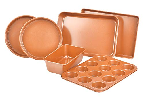 Bakeware Set 6 PCS Nonstick Copper Cooking Cake Pan Meatloaf Muffin Cups