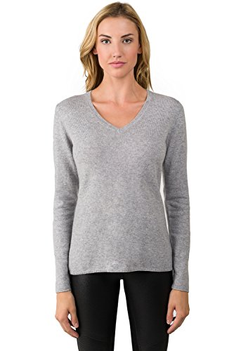 00% Pure Cashmere Long Sleeve Pullover V Neck Sweater (M, GREY) ()