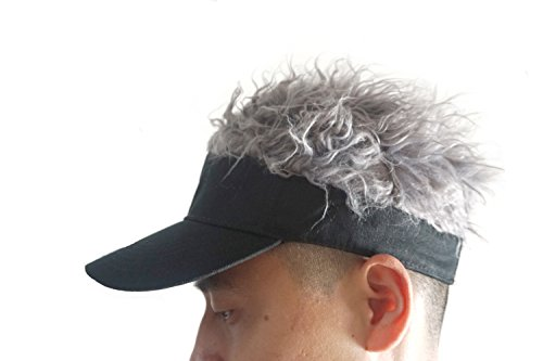 Flair Hair Sun Visor Cap with Fake Hair Wig Novelty Baseball Cap Black ()