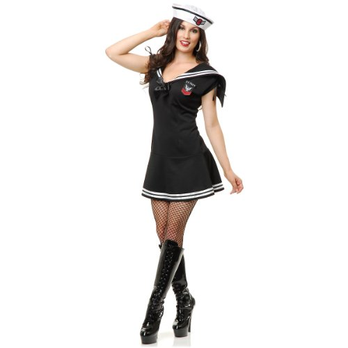 Charades Women's WWII Sailor Gal Costume, Black/White, ()
