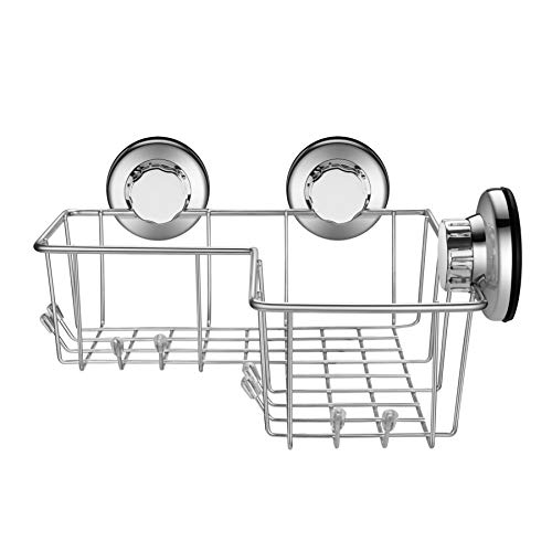 iPEGTOP Powerful Vacuum Suction Cup Corner Shower Caddy - Combo Organizer Basket Holder with 8 Hooks - Stainless Steel for Bathroom Storage by iPEGTOP (Image #1)
