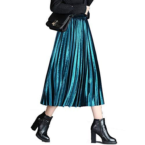 2018 Automne - Hiver Women's mi - Longueur, la moiti de la Jupe, Orgue, Jupe plisse. Bleu Paon