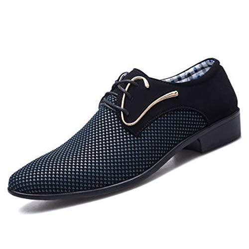 Mens Dress Shoes Leather Oxfords,Lace up Formal Wedding Party Shoes for Men(Blue-Lable 43/9 D(M) US Men)