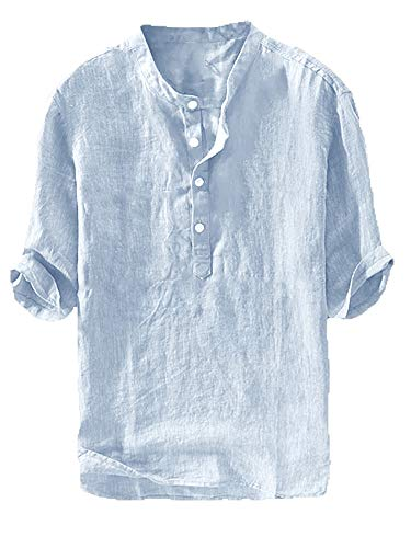 Gtealife Mens Linen Henley Shirt Casual 3/4 Sleeve T Shirt Pullover Tees V Neck Curved Hem Cotton Shirts Beach Tops (Medium, C-Sky Blue)
