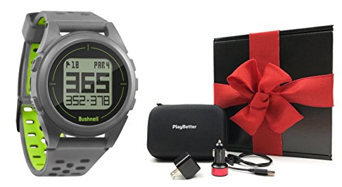 - Bushnell iON 2 Golf GPS Watch Gift Box Bundle | with PlayBetter Wall/Car USB Adapters & Protective Case | Black Gift Box, Red Bow | Simple Golf GPS Watch | 36,000+ Courses (Silver/Yellow)