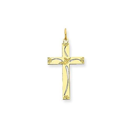 14K Yellow Gold Laser Designed Cross Charm