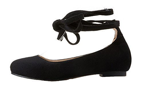 AgooLar Damen Nubukleder Ziehen auf Rund Zehe Ohne Absatz Rein Pumps Schuhe Schwarz
