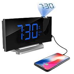 TOPELEK Projection Alarm Clock, 7'' Curved-Screen FM Radio Alarm Clock with Dimmer, Digital Alarm Clock with Multiple Alarm Voice, Dual Alarm, Snooze Mode, Sleep Timer, Dual USB Port, Blue