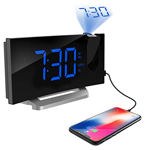TOPELEK Projection Alarm Clock, 7'' Curved-Screen FM Radio Alarm Clock with Dimmer, Digital Alarm Clock with Multiple Alarm Voice, Dual Alarm, Snooze Mode, Sleep Timer, Dual USB Port, Blue -