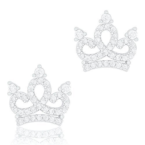 ORROUS & CO Womens 18k White Gold Plated Cubic Zirconia Princess Crown Stud Earrings