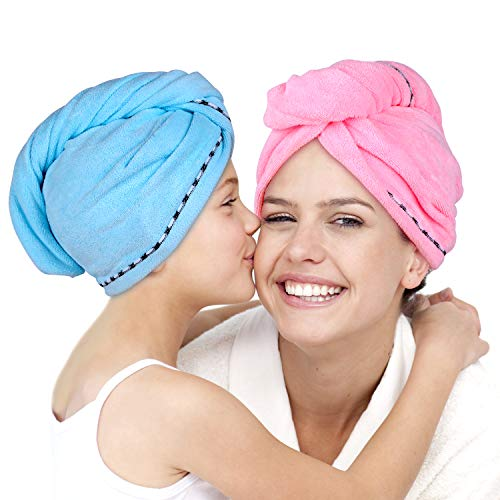 - Microfiber Hair Towel Wrap 2 Pack -Hair Turban Head Wrap with Button, Quick Dry -Super Absorbent for Long & Curly Hair, Anti-Frizz -Bath Artifact for Women Girls Mom Daughter