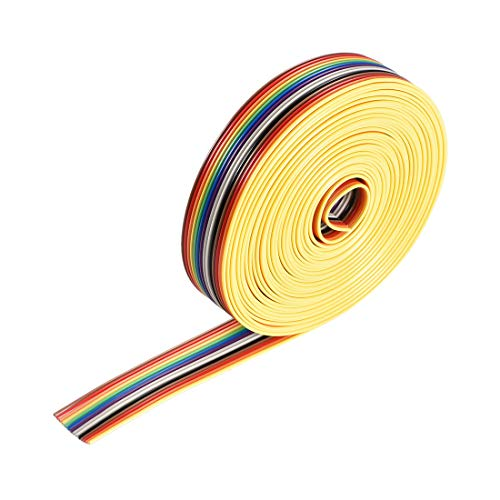 uxcell IDC Rainbow Wire Flat Ribbon Cable 14P 1.27mm Pitch 5meter/16.4ft Length