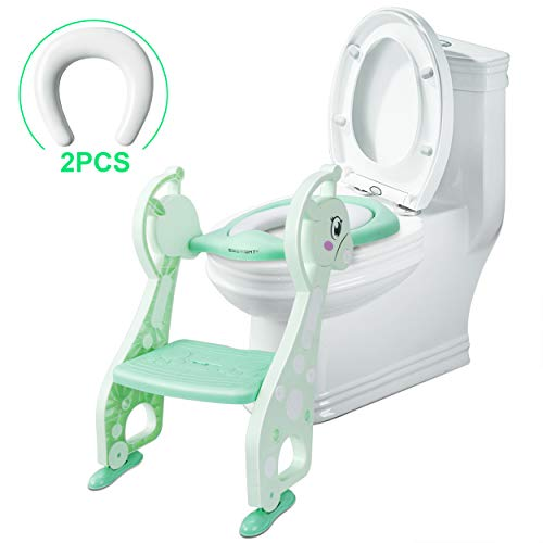SSBRIGHT Potty Chair Potty Ladder Kids Potty Training Seat Boys Girls Baby Toddlers Toilet Training with Step and Armrest Handles Non-Slip Pad (Mint Green) ()