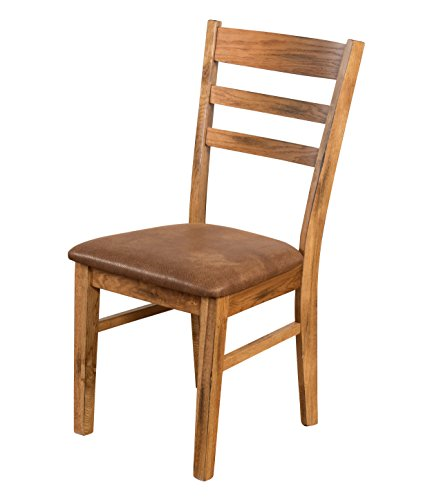 California Bookcase Cabinet - Sunny Designs 1616RO-CT Ladder Back Side Chair, Rustic Oak