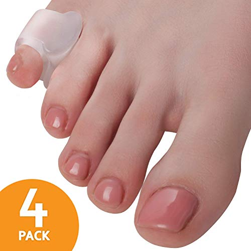Toe Separators Hammer Toe Straightener - 4-Pack Little Toe Spacers - Gel Spreader - Correct Crooked Toes - Bunion Corrector and Bunion Relief - Pads for Overlapping, Hallux Valgus, Diabetic Feet, Yoga