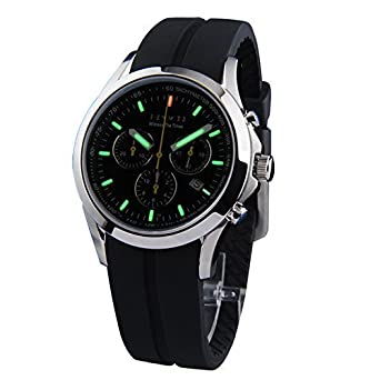 Epoch 6022G Herren-Armbanduhr - 100 m wasserdicht - Tritiumgas - grÜn leuchtend - drei Fenster - Silikon-Armband - Sport-