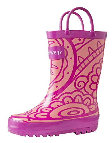 Pink Rubber Rain Boots - OAKI Kids Rubber Rain Boots with Easy-On Handles, Henna, 11T US Toddler