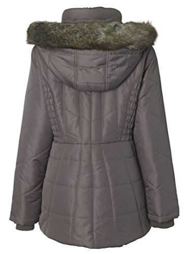 Sportoli Women's Midlength Ruched Detail Plush Lined Puffer Coat with Zip-Off Detacheable Fur Trim Hood - Fog with Polished GunMetal (2X) by Sportoli (Image #4)
