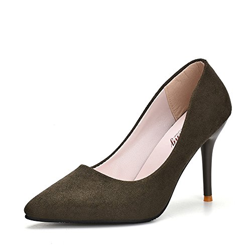 LIVY 2017 nueva gamuza señaló zapatos de tacón alto de la moda zapatos de tacón muy altos de las mujeres de los zapatos rojos de la boda Green