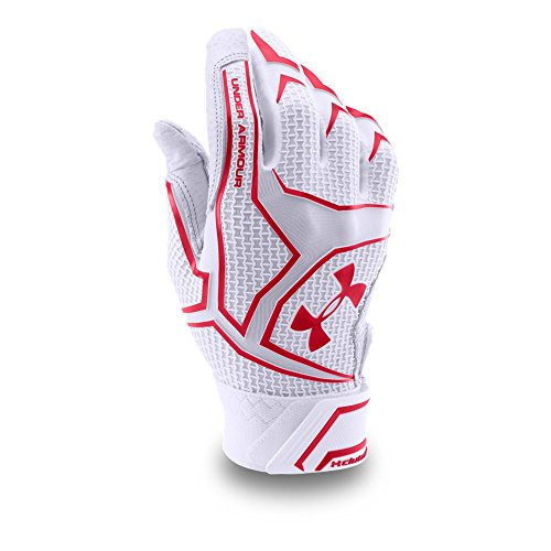 Under Armour Men's UA Yard Batting Gloves, White/Red, Sz. Small