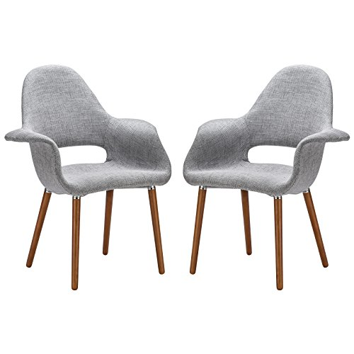 Poly and Bark Organic Arm Chair, Light Grey, Set of 2
