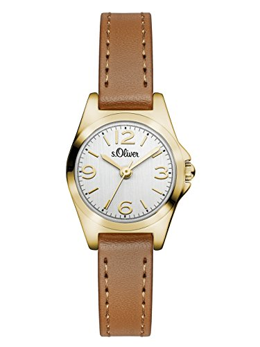 s.Oliver SO-3126-LQ Women's Quartz Analogue Watch with Brown Leather Strap