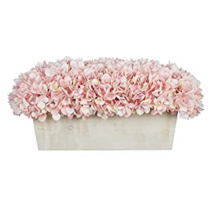House of Silk Flowers Artificial Hydrangeas in White-Washed Wood Ledge 112