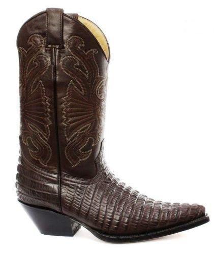 Grinders Carolina Croc Marrone in Pelle di Coccodrillo Coda Cowboy Stivali  Western Tutte Le Taglie (