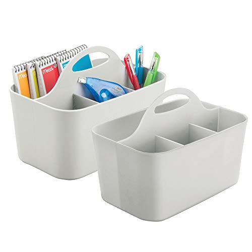 mDesign Office Supplies Desk Organizer Tote for Scissors, Pens, Pencils, Notepads - Pack of 2, Small, Gray ()