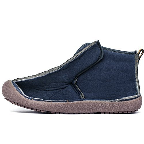Go Tour Slip On Snow Boots For Men Women,Anti-Slip Lightweight Ankle Bootie With Fully Fur Grey/Lace Up