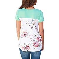 HOTAPEI Women Casual Floral Print Back Short Sleeve Criss Cross V Neck Blouse Tops