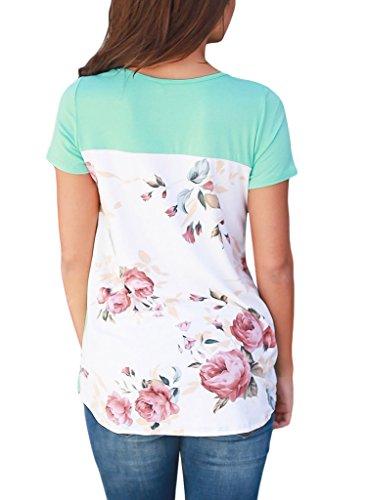 HOTAPEI Women Casual Floral Print Short Sleeve Criss Cross T Shirt Blouse Tops Green Large