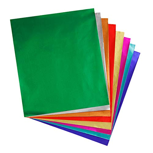 Hygloss Products Metallic Foil Paper Sheets - 8 Assorted Colors, 8 1/2 x 10