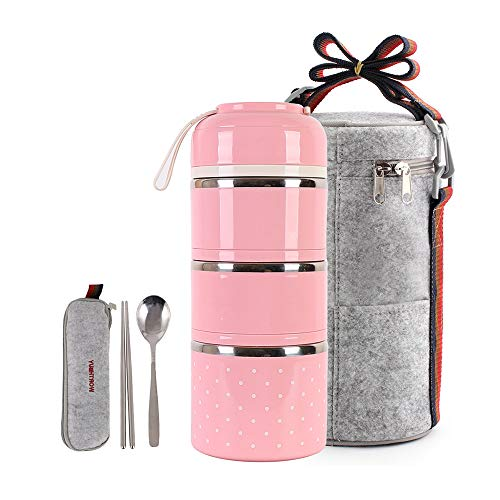 Cute Lunch Box Insulated Lunch Bag Bento Box Food Container Storage Boxes With Cutlery For Kids Children Teenager Adults Office School Camping, 3 tier pink