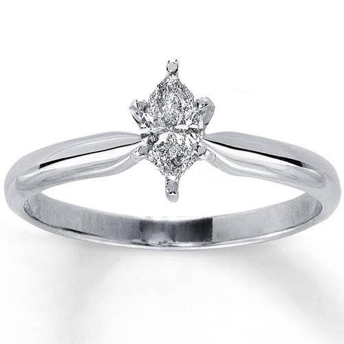 (1/4ct Solitaire Marquise Diamond Engagement Ring 14K White Gold - Size 9)